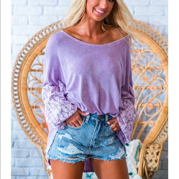 Impressions Tops - NWOT Eyelet Shift Top in Dusty Purple—size small